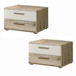 2 nočné stolíky, dub piesková/biela, VALERIA
