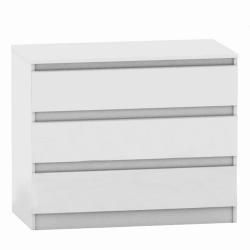 3 šuplíková komoda, biela, HANY 003