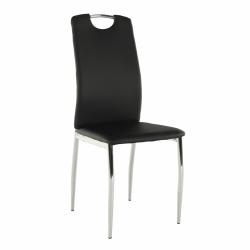 Jedálenská stolička, ekokoža čierna/chróm, ERVINA
