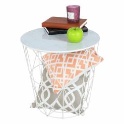 Príručný stolík, mramor/biela, ENPLO, poškodený tovar