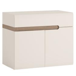 Skrinka s keramickým umývadlom, biela extra vysoký lesk HG/dub sonoma truflový, LYNATET TYP 150