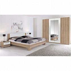 Spálňový komplet (skriňa, posteľ a 2 nočné stolíky), dub sonoma/biela, MARTINA
