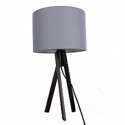 Stolná lampa, sivá/drevo čierne, LILA TYP 5 LS2002